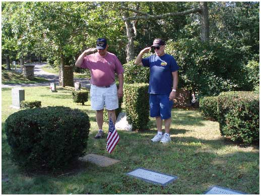 Shipmates Tom Harper and Karl Kristiansen visit the grave of shipmate Richard Archer - 9/12/12