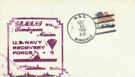 Envelope with the Gemini Rendezvous Mission Stamp postmarked aboard the Mansfield